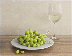 Grapes with white wine glass 3D