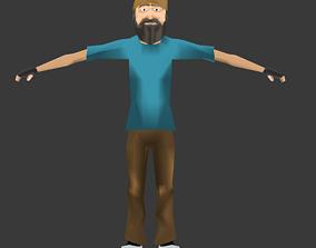 3D asset rigged Construction Worker