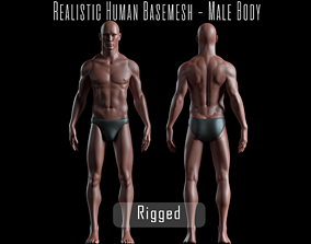 3D asset Realistic Human Basemesh - Rigged - UVMapped - 1