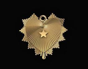3D print model hear shine with star pendant