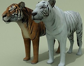 3D asset LowPoly Tigers