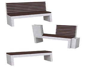Concrete park benches 3D model