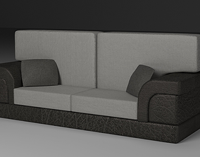 3D asset Leather Sofa with Fabric Pillows