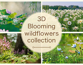 PBR 3d Blooming wildflowers collection Vol01