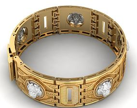 Mens bracelet made of gold with 3D printable model