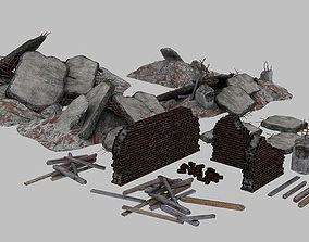 Rubble Brick and Concrete Elements 3D asset