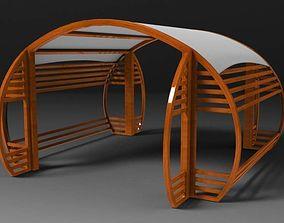 Circular Pergola wood 3D model