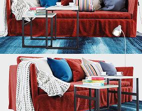 BRATHULT red 3-seat sofa 3D