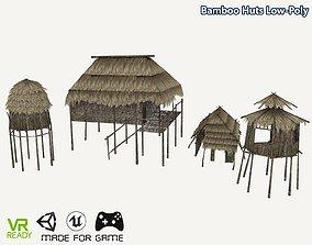 Bamboo Huts 3D asset