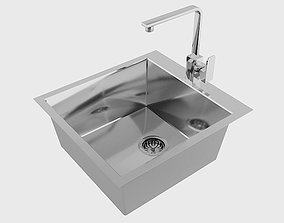 Kitchen Sink and Faucet 3D model basin