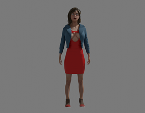women 3D asset game-ready