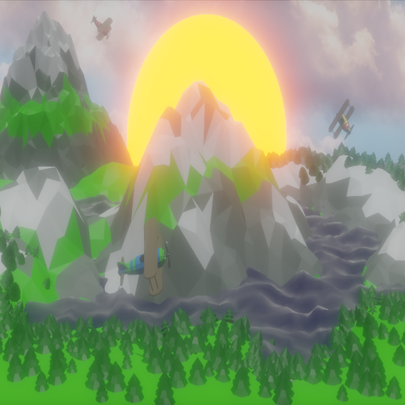 low poly sunny valley