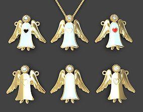 Guardian angel pendant or pin set 3D printable model