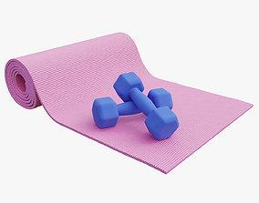 3D Dumbbells and yoga mat