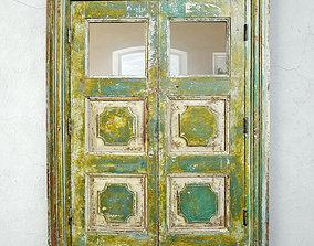 Antique Colonial Storage Cabinet Mirror 3D