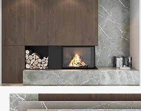 Fireplace and Firewood set 04 3D