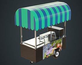 3D asset low-poly Food Cart 1A