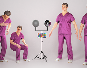 Animated surgeon in violet uniform walking 3D asset 2