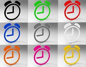 Clock symbols with multiple color free 3D asset