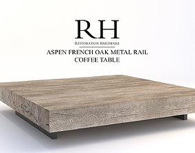 Restoration Hardware Aspen French Oak Metal Rail Coffee 3D
