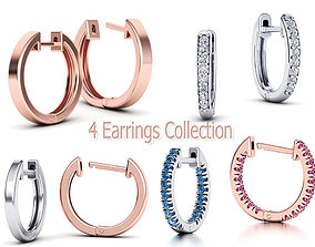 4 Earrings Collection with Discount 3D