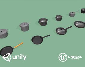 3D asset Kitchen Pots and Pans