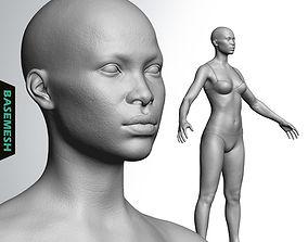 3D Average Black Female Body Basemesh