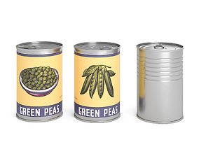 Green Peas Metal Cans removable 3D