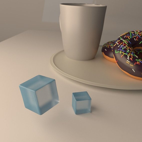 Glass cubes and morning coffee