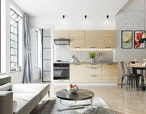 3D Kitchen-Living room