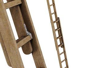 stepladder 3D model old wooden ladder