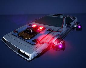 3D asset Cyberpunk DeLorean