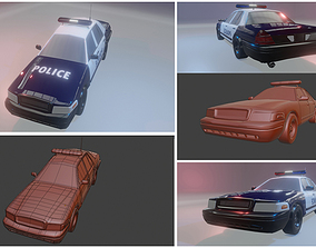 lowpoly 3d police car game-ready