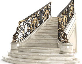 Classic marble staircase with wrought iron railing 3D