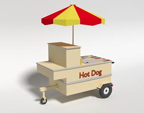 Low Poly Cartoon Hot Dog Cart 3D asset