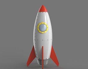 3D model Spaceship rocketship cartoon simple High and Low