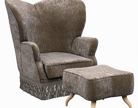 3D Gubi Bonaparte Lounge Chair and Ottoman