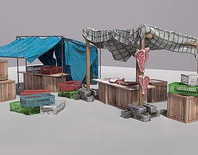 3D asset Old Market Stall