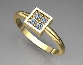 models Diamond Engagement Gold Ring 3D model