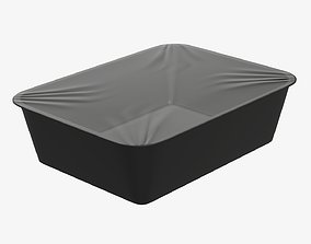 Plastic food container tray box with foil mockup 02 3D