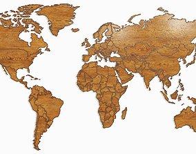 3D continent World map