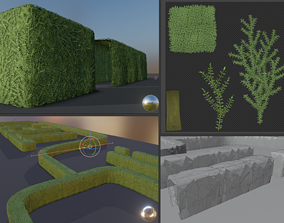 3D asset Low-Poly Boxwood Hedge Version 2
