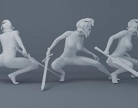 Wearing armor naked female warrior 001 3D printable model