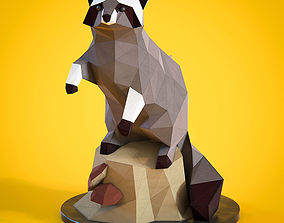Low poly Racoon figurine 3D