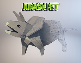 3D model animated game-ready Triceratops
