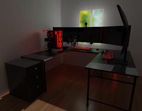 3D Red Modern Gaming Setup