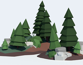 3D model low-poly Low Poly Tree Pack