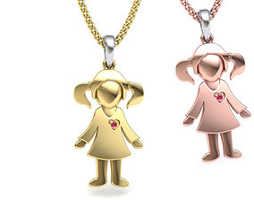 3D printable model Baby Pendant Girl Pendant Engravable