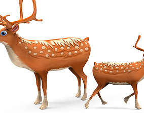 Cartoon Toon Reindeer Rigged and Animated 3D asset