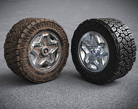 3D model Off road tire and rim with and without dirt 1